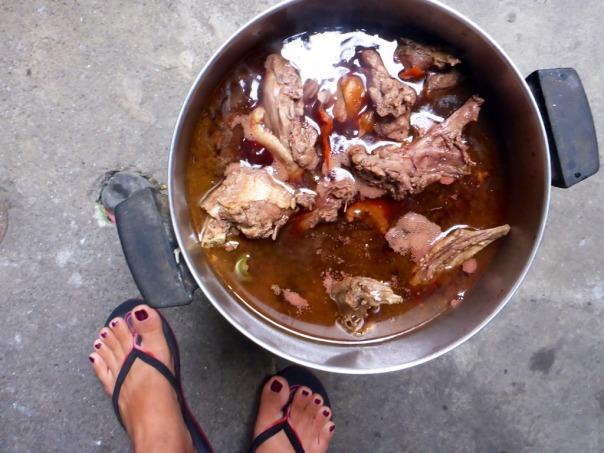 "Here we are cooking duck in wine ala ""Coq au Vin""."