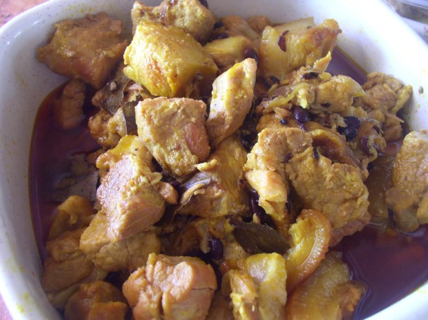 Pork humba, a very popular fiesta pork fare. It is pork cooked in soy sauce, black beans and banana flowers.
