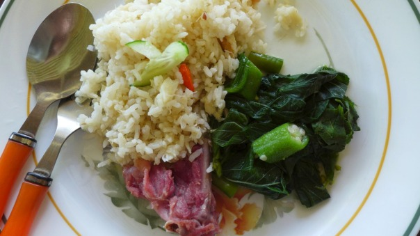 "Crab rice, saluyot and okra veggies and the ""duck bacon!"""
