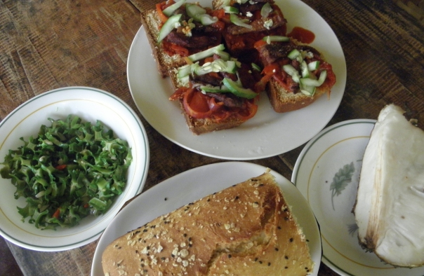 Sunday lunch is salted duck breast pizza, winged beans, soursop and homemade bread.